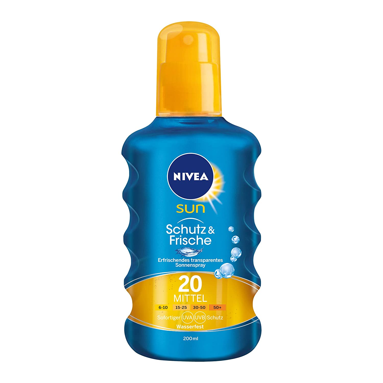 NIVEA SUN Transparentes Sonnenspray, Lichtschutzfaktor 20, 200 ml Sprühflasche, Schutz & Frische