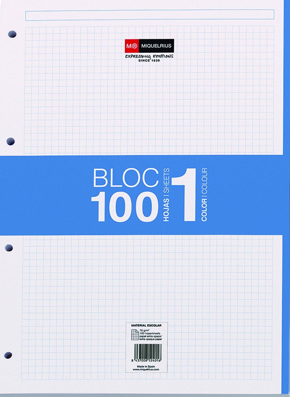 Miquelrius - Recambio hojas A4, 100 hojas, cuadrícula 5 mm, 4 taladros, color azul Miquel Rius 7421