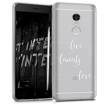 kwmobile Funda para Xiaomi Redmi Note 4 / Note 4X - Carcasa de TPU para móvil y diseño Live, Laugh, Love en Blanco/Transparente