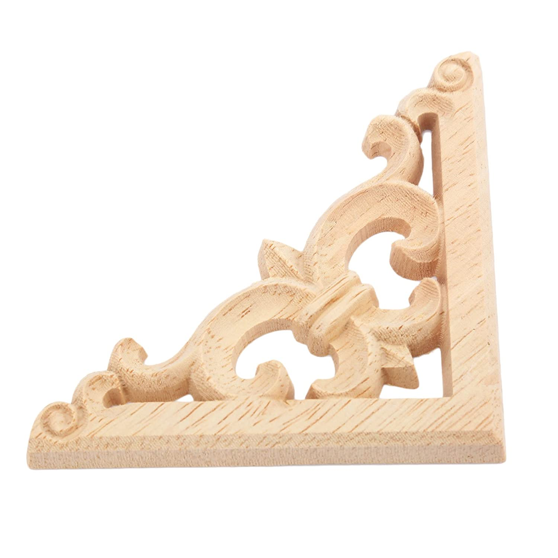 4pcs 8x8cm European Style Wood Carved Corner Onlay Applique Unpainted Furniture Door Decor