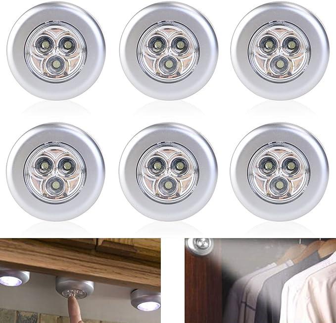 Tinksky - Lámpara de 3 LED con pulsador manual, a pilas, pack de 6 unidades (luz blanca): Amazon.es: Bricolaje y herramientas
