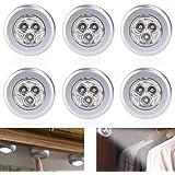 Tinksky Poussoir 3-LED Lampe Batterie Moteur Clic, Pack de 6 (lumière Blanche)