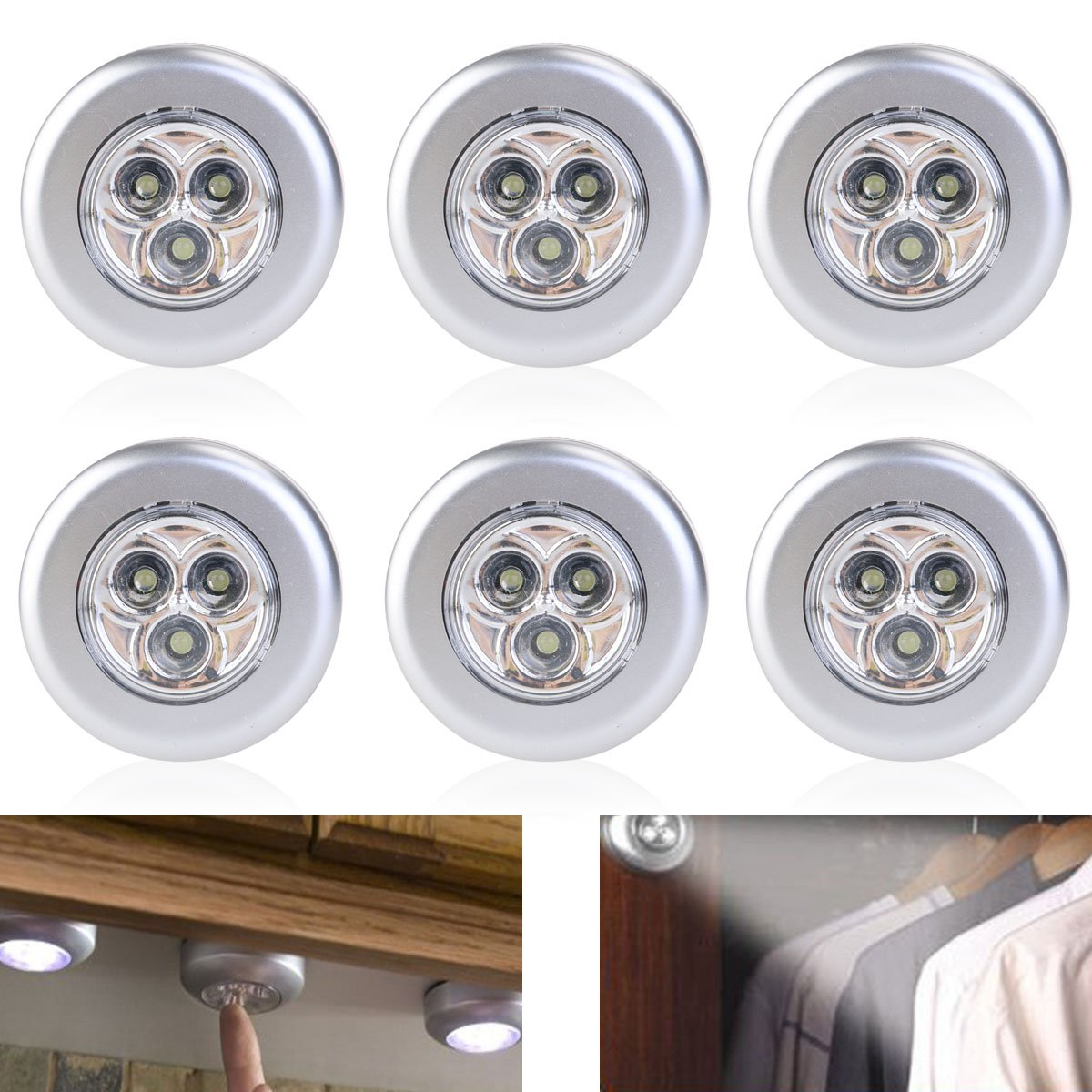Tinksky Set of 6 Click Push LED Lamp Night Light Lamps Battery Operated Self-adhesive Kitchen Lights Cabinet Lights, White Light