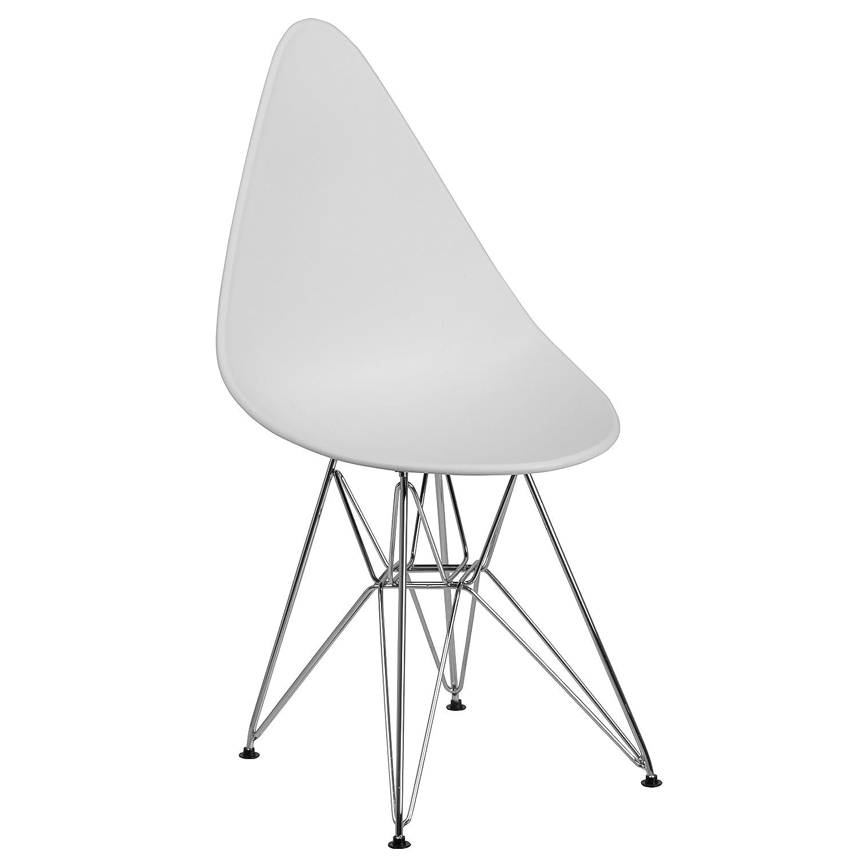 Astounding Flash Furniture Allegra Series Teardrop White Plastic Chair With Chrome Base Creativecarmelina Interior Chair Design Creativecarmelinacom