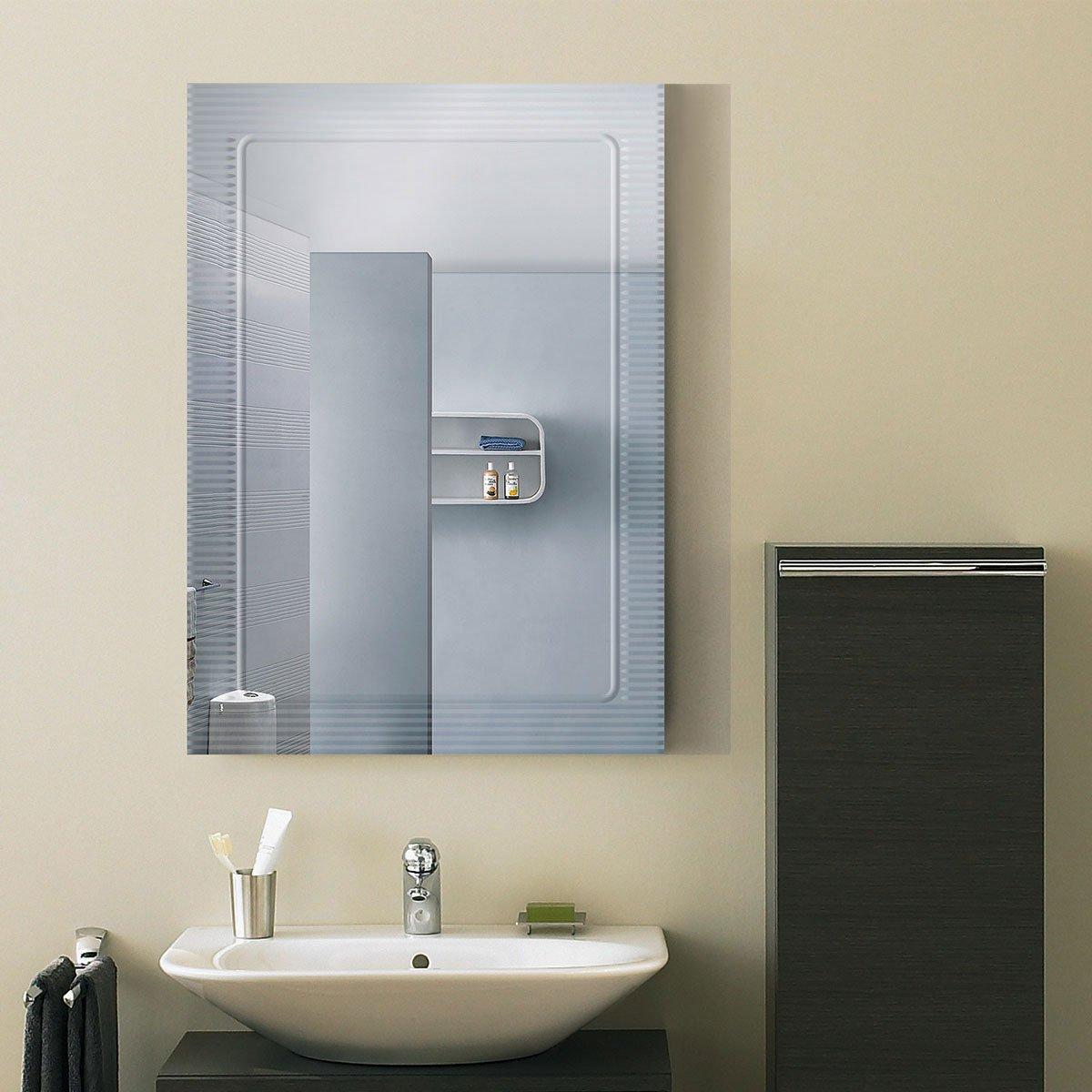 DECORAPORT 28''20'' Frameless Wall-mounted Bathroom Silvered Mirror Rectangle Vertical Vanity Mirror (A-B067B)