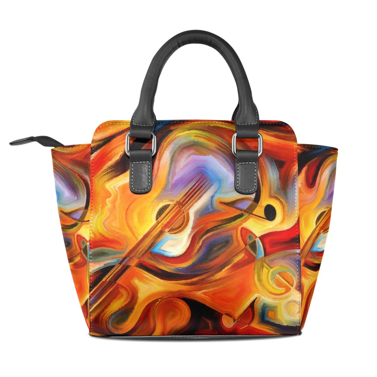 Jennifer PU Leather Top-Handle Handbags Abstract Colorful Melody Piano And Music Notes Single-Shoulder Tote Crossbody Bag Messenger Bags For Women