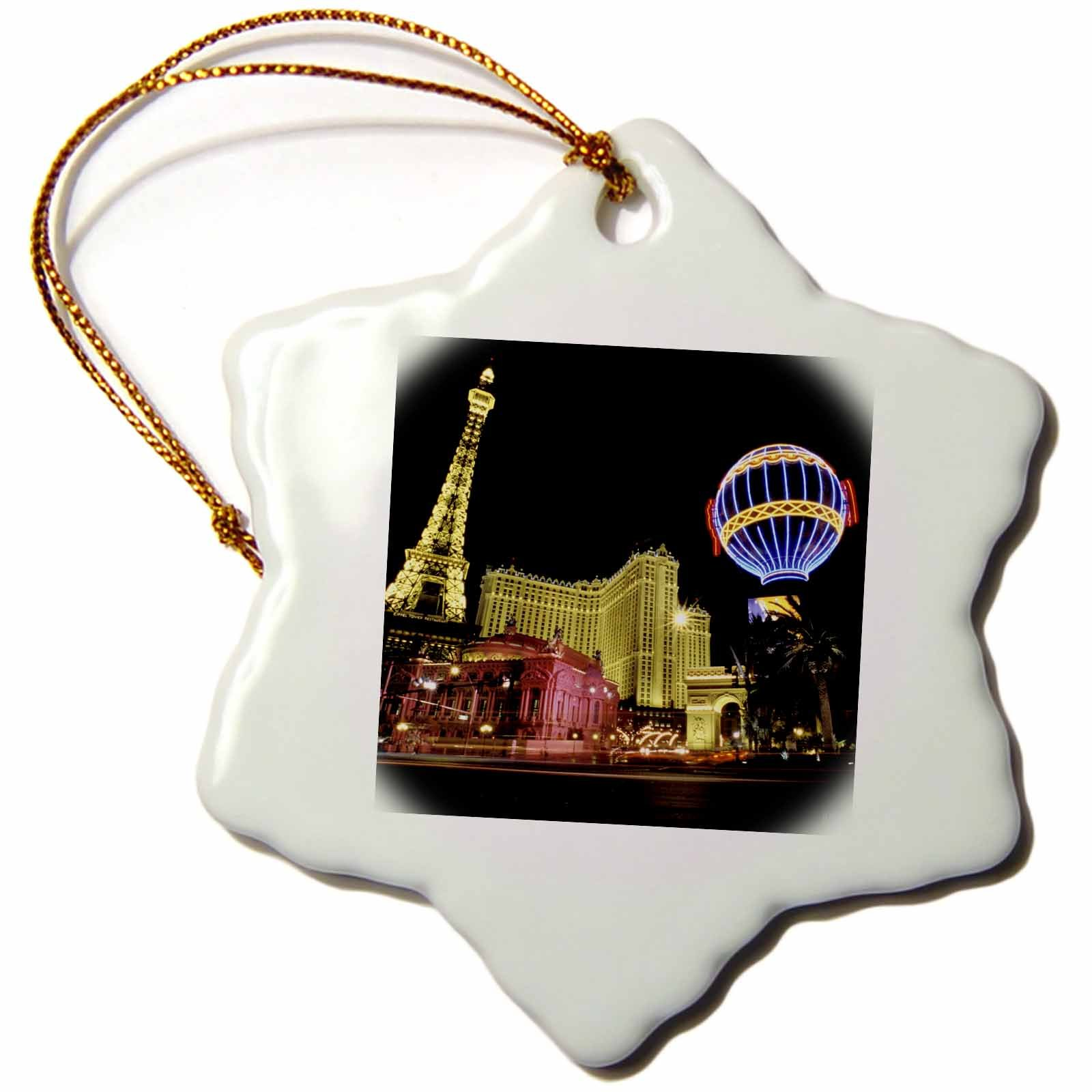 3dRose orn_37789_1 Paris Hotel and Casin at Las Vegas Strip United States Snowflake Porcelain Ornament, 3-Inch
