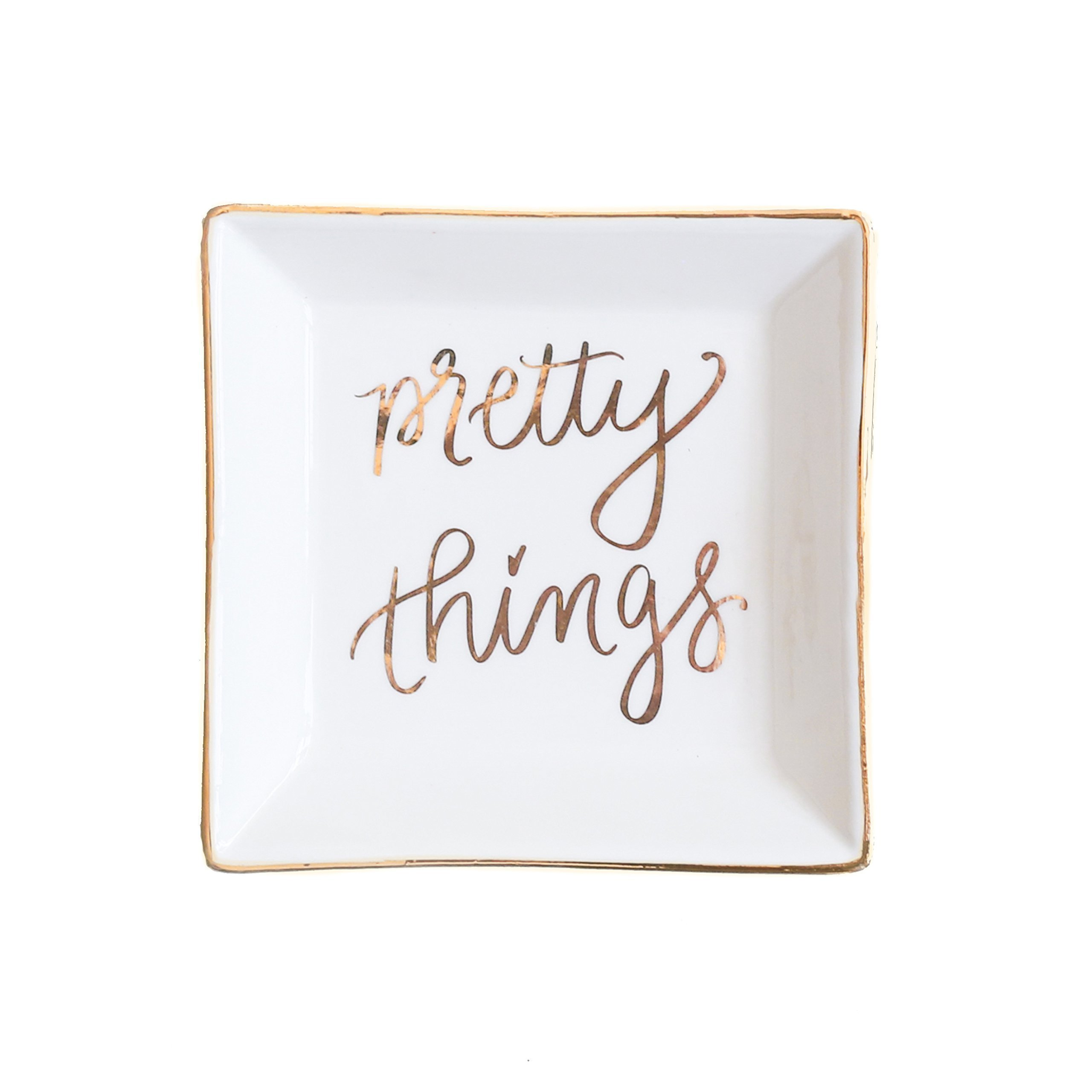 Pretty Things Jewelry Dish |Small Gold Ring Trinket Tray Storage Inspirational Best Friend Gift for Her Ceramic Organizer Office Decor Desk Accessories Hand Lettered