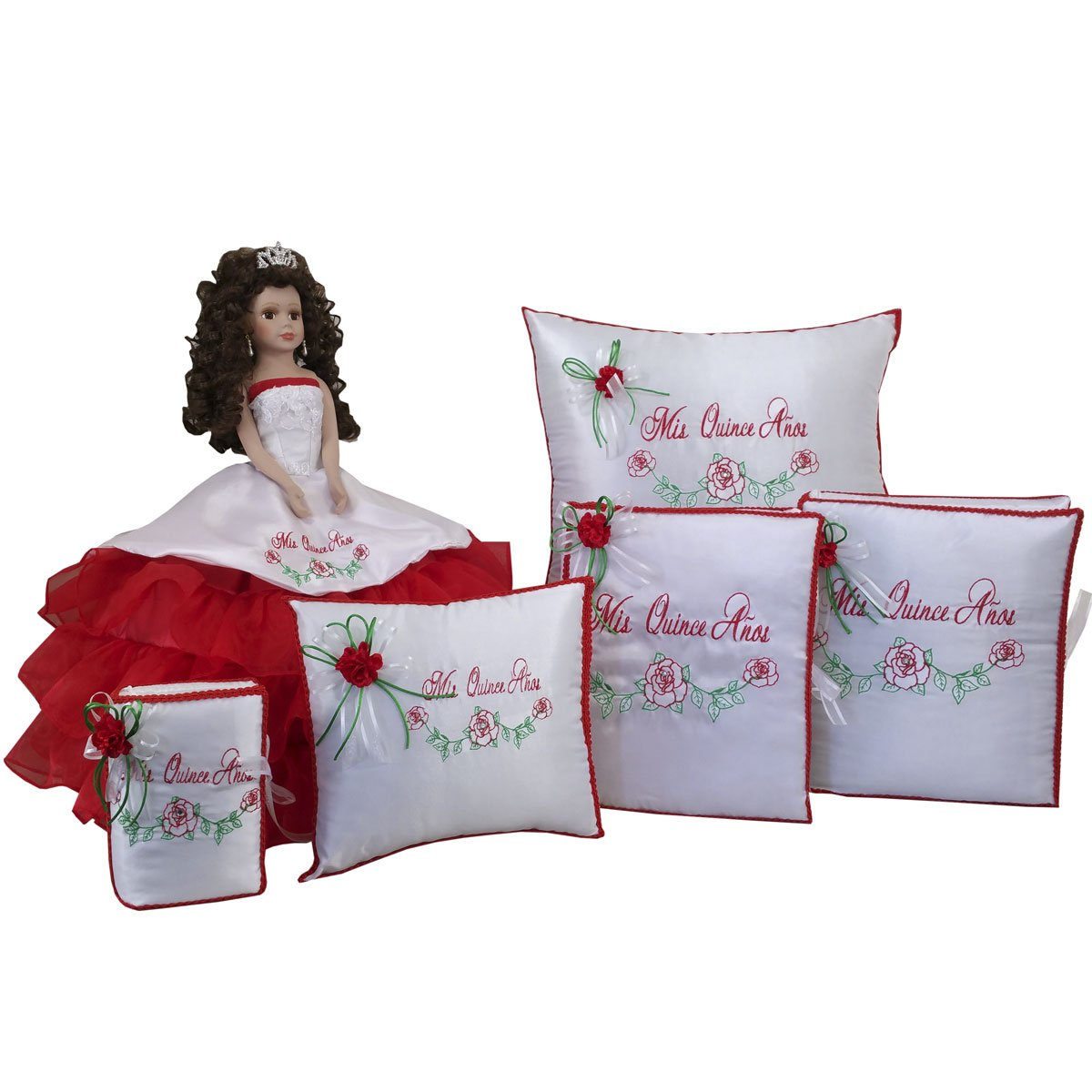 Quinceanera Doll Set with Guest Book Kneeling Tiara Pillow Photo Album Bible Q1060 (Basic set + English bible)