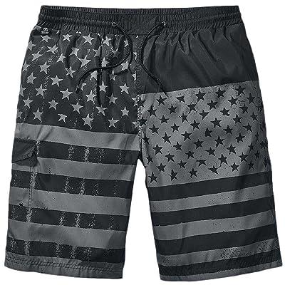 Bocaoying Men's Flag Print Beach Swim Trunks Star Pattern Surfing Board Shorts