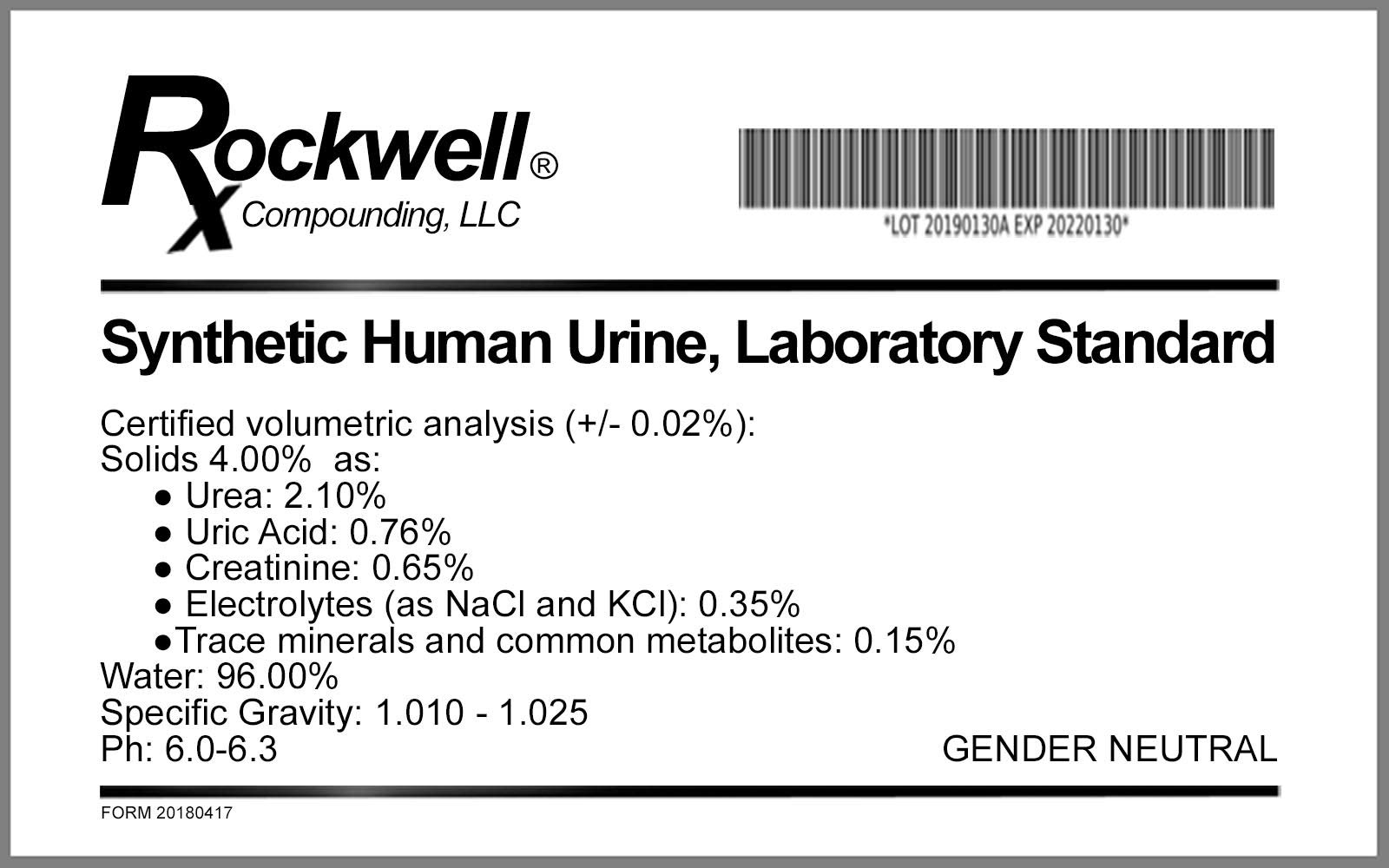 Synthetic Urine, Human, Laboratory Reference Standard, by Generic (Image #2)