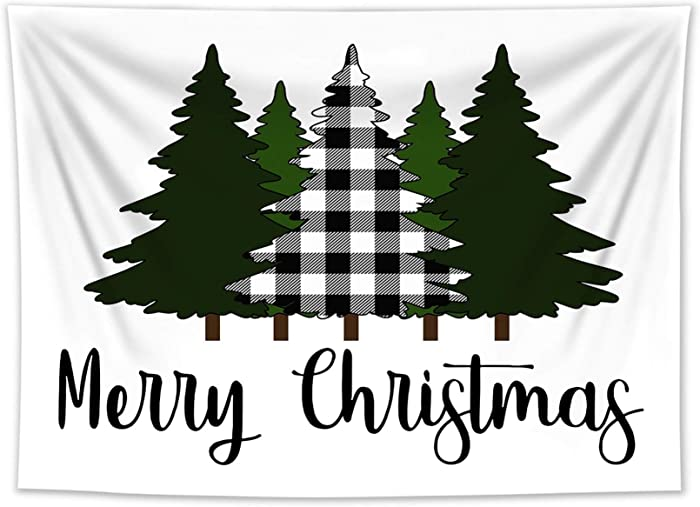 HVEST Christmas Tapestry Black White Plaid Xmas Tree on White Backdrop Tapestries Farmhouse New Year Wall Hanging Blanket for Bedroom Living Room Dorm Holiday Party Teen Indie Room Decor,60x40 Inches
