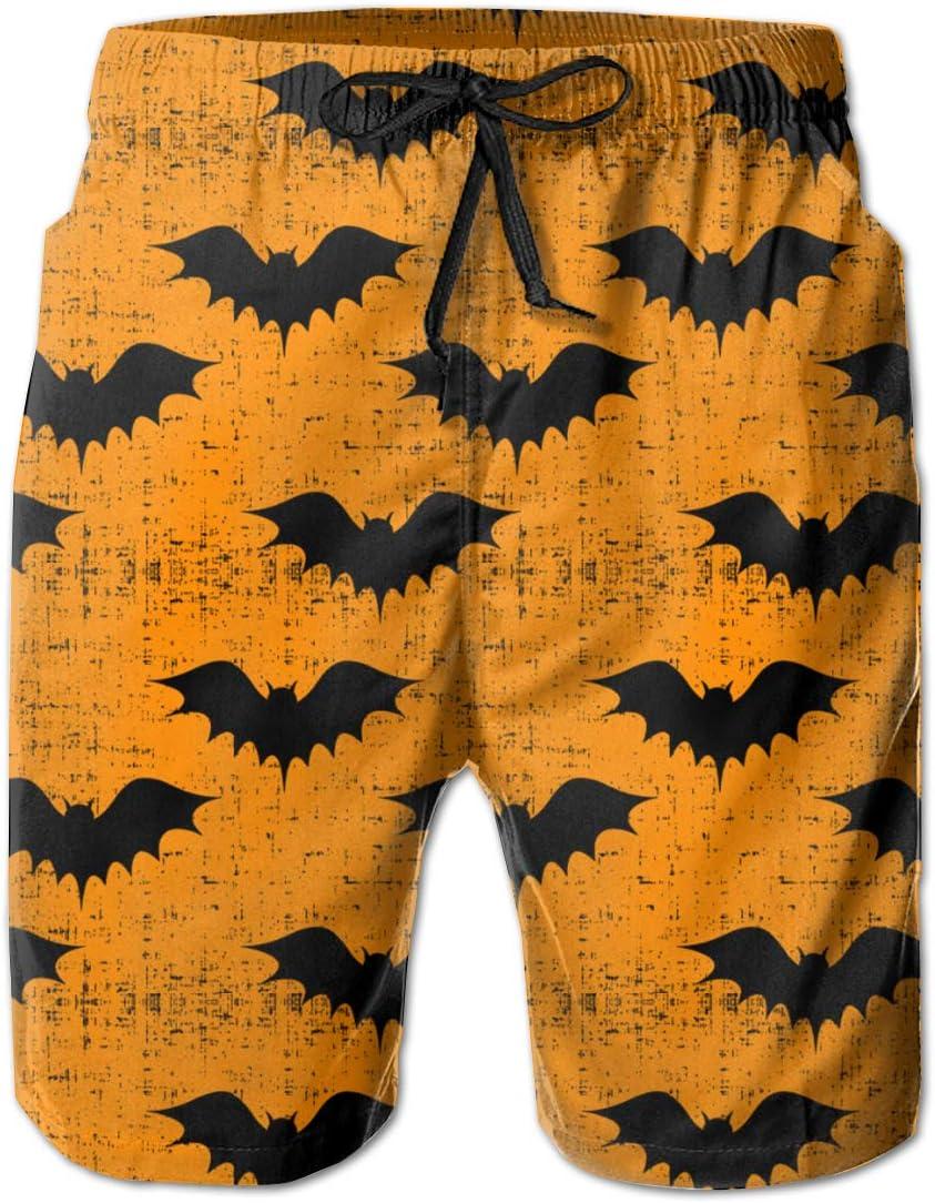FRS Ltd Bat Halloween Mens Quick Dry Swim Trunks Beach Board Short Elastic Waist Vacation Surfing Shorts