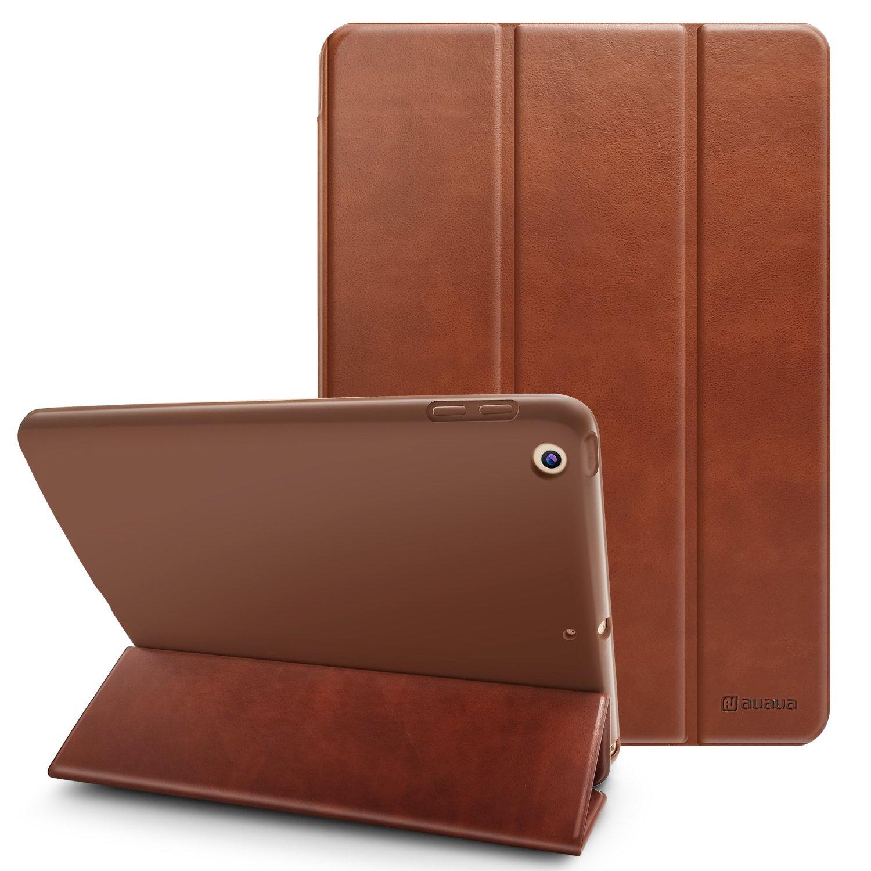 New iPad 9.7 2018/2017 Case, AUAUA iPad 9.7 inch Case PU Leather Case with Smart Cover Auto Sleep/Wake +Felt Protector Case for Apple New iPad 9.7 inch Tablet (iPad 9.7 case-Fold, Brown)
