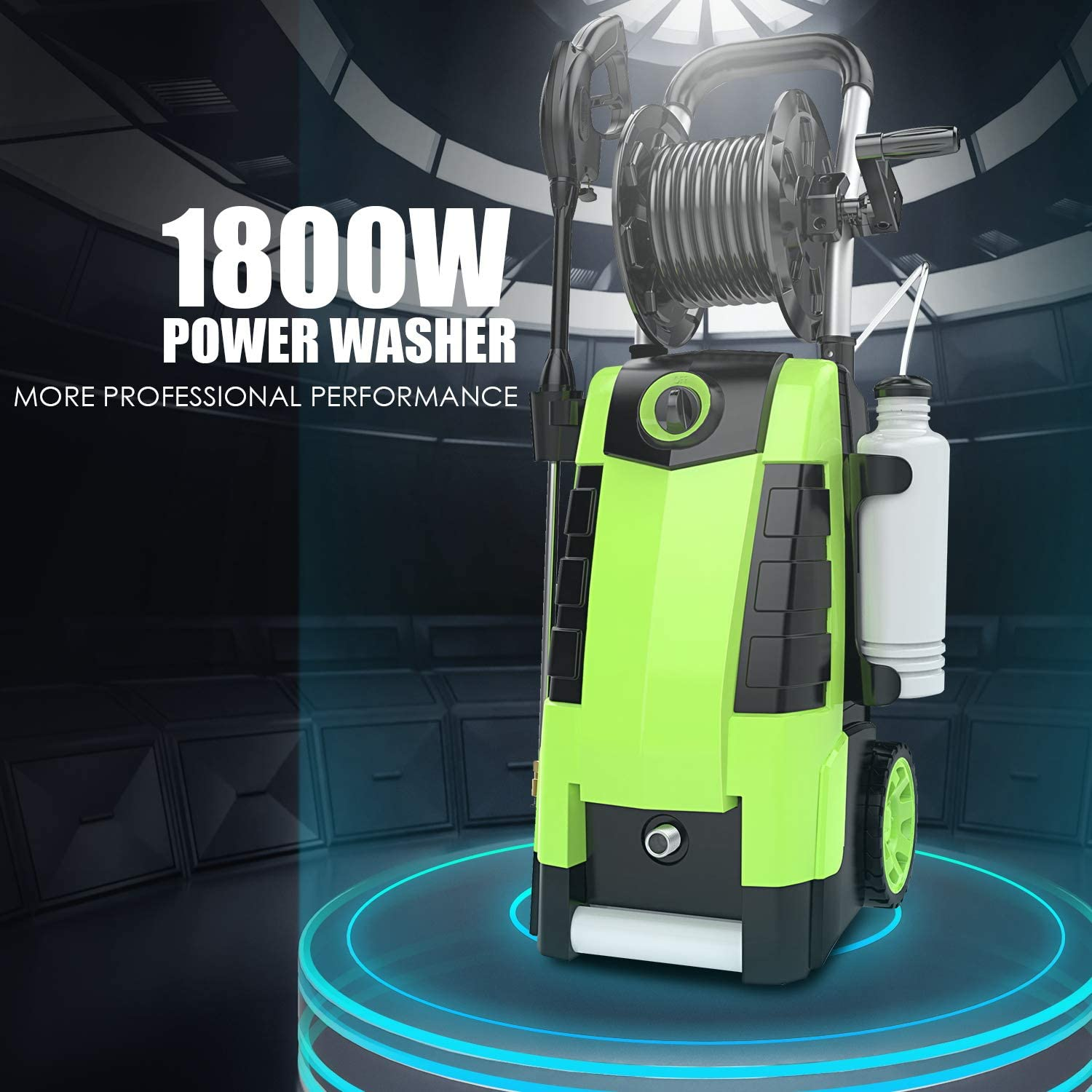 TEANDE 3800PSI Electric Pressure Washer, 2.8GPM High Pressure Power Washer 1800W Machine for Cars Fences Patios Garden Cleaning Hose Reel : Garden & Outdoor