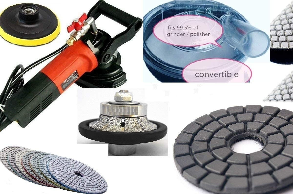 "Variable Speed Stone Wet Polisher 3//8/"" Bullnose dust shroud polish pad concrete"
