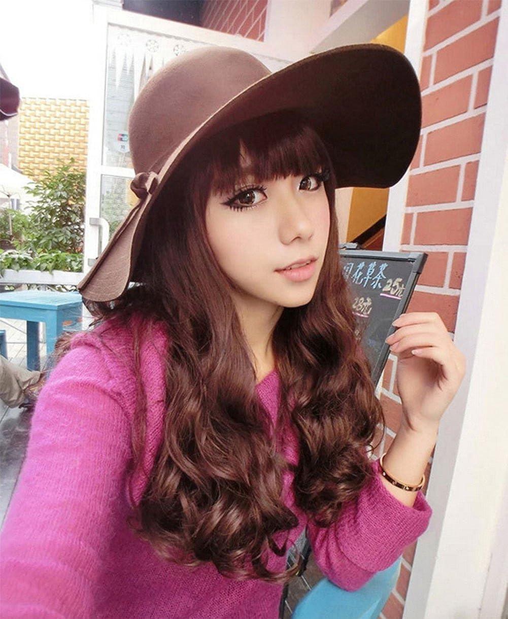 Black Qingsun Fashipn Womens Vintage Large Wide Brim Wool Felt Floppy Winter Fedora Cloche Hat Cap