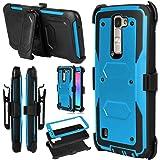 LG Escape 3 Case, LG Phoenix 2 Case, LG K8 Case, Venoro Hybrid Full Body Heavy Duty Armor Holster Defender Case Cover with Kickstand and Swivel Belt Clip (Blue)