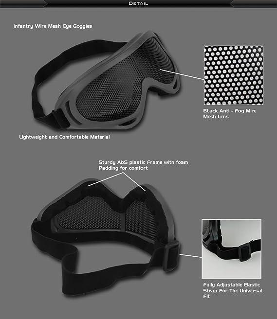INFANTRY Unisexe Lunette pour protection des yeux Grillage-Nylon Sangle ¨¦lastique Noir ar7Aj522zv