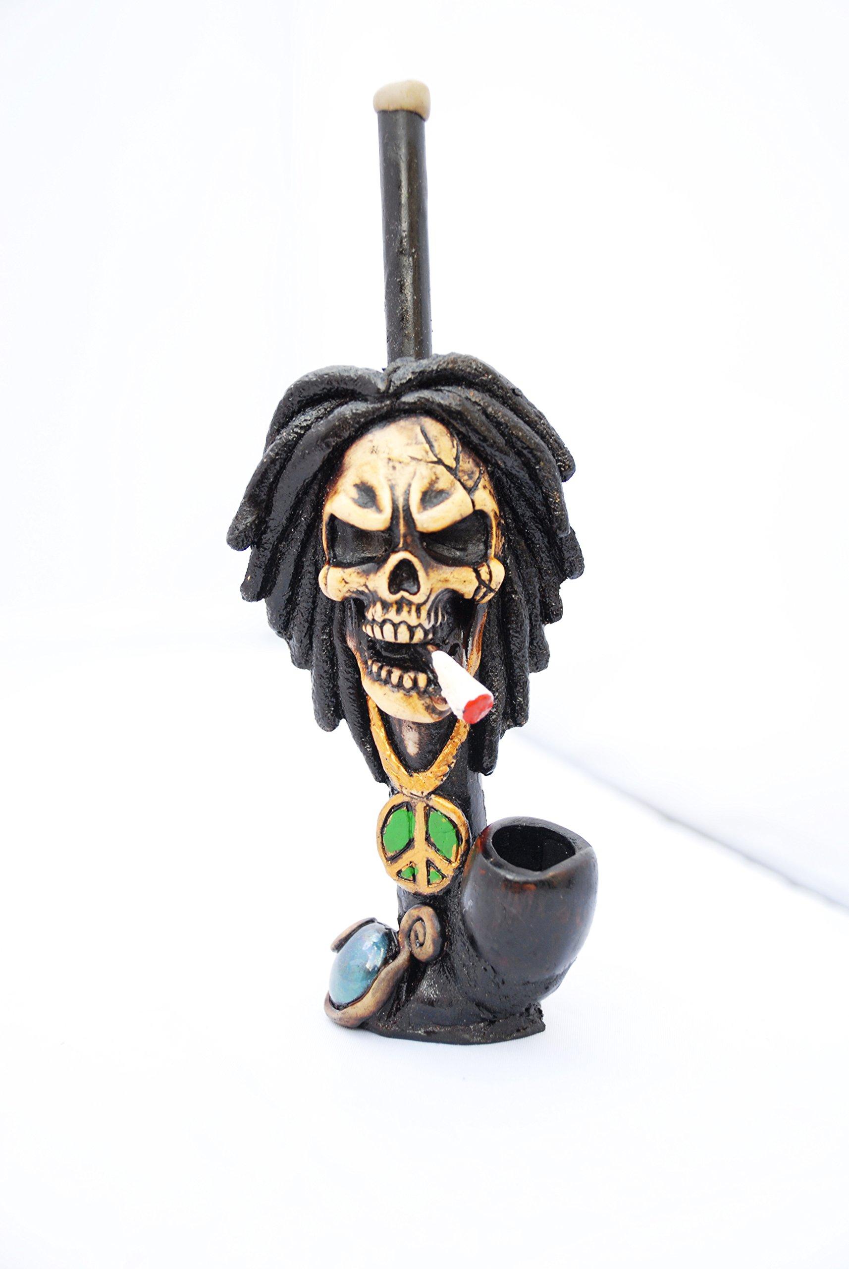 JCUNIVERSAL® - Handmade Tobacco Smoking Pipe Bob Marley Stype Smoking Skull Design