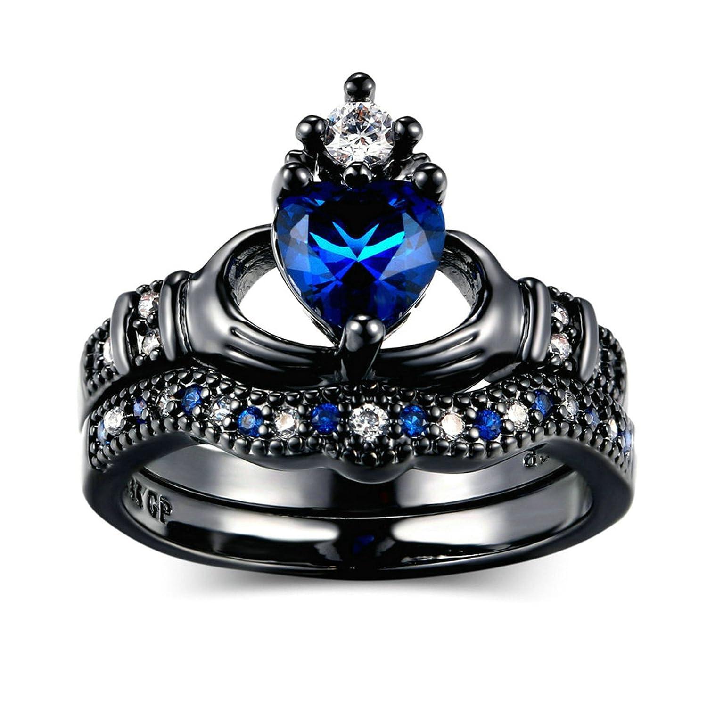 AnaZoz Reine Noire Bague Couronne Femme Luxueux Noir Bague 2 Anneaux Bleu C/œur Bague Claddagh Irlandaise
