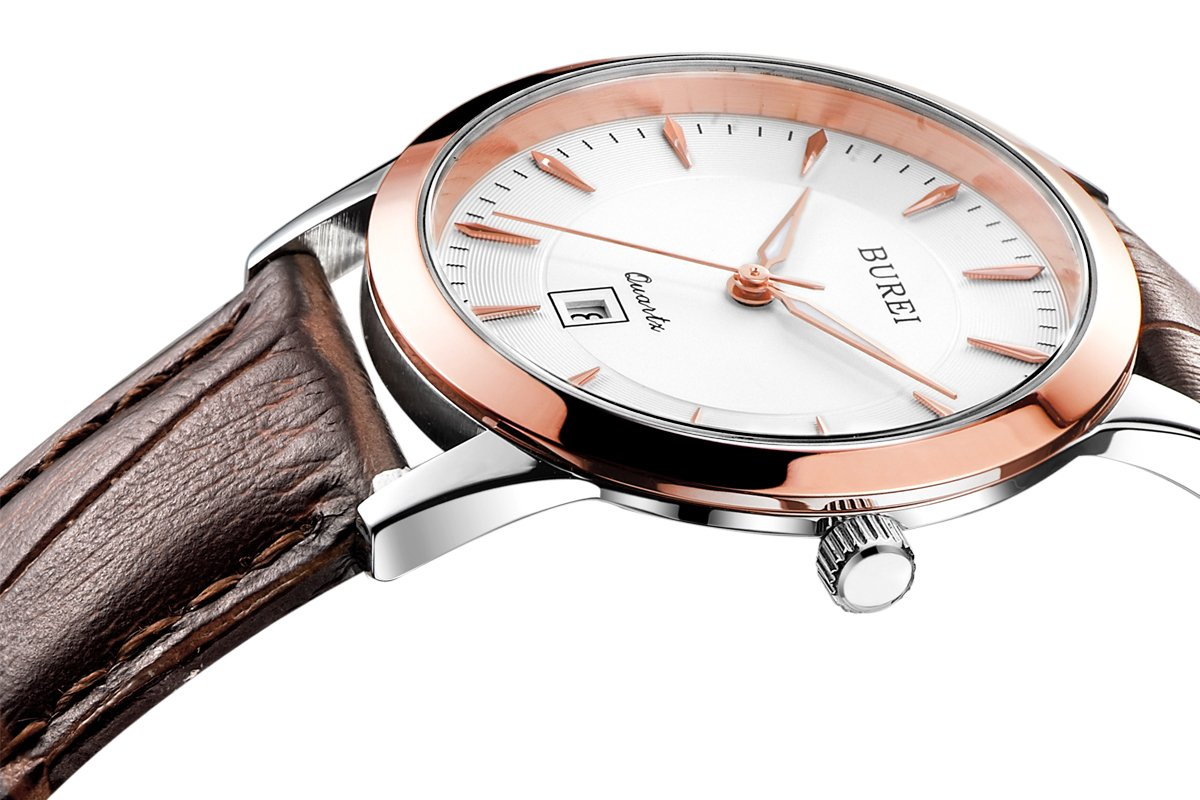 BUREI Women's Classic Ultra-Thin Wrist Watches with Rose Gold and Stainless Steel Quartz Dial