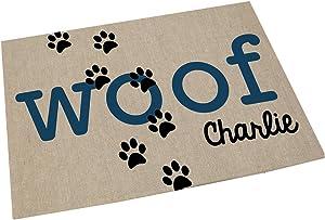 GiftsForYouNow Woof Personalized Pet Feeding Mat