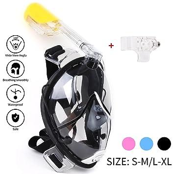 Máscara de buceo con tubo respirador 180 Grados Panorámico - Máscara de Buceo cara completa -