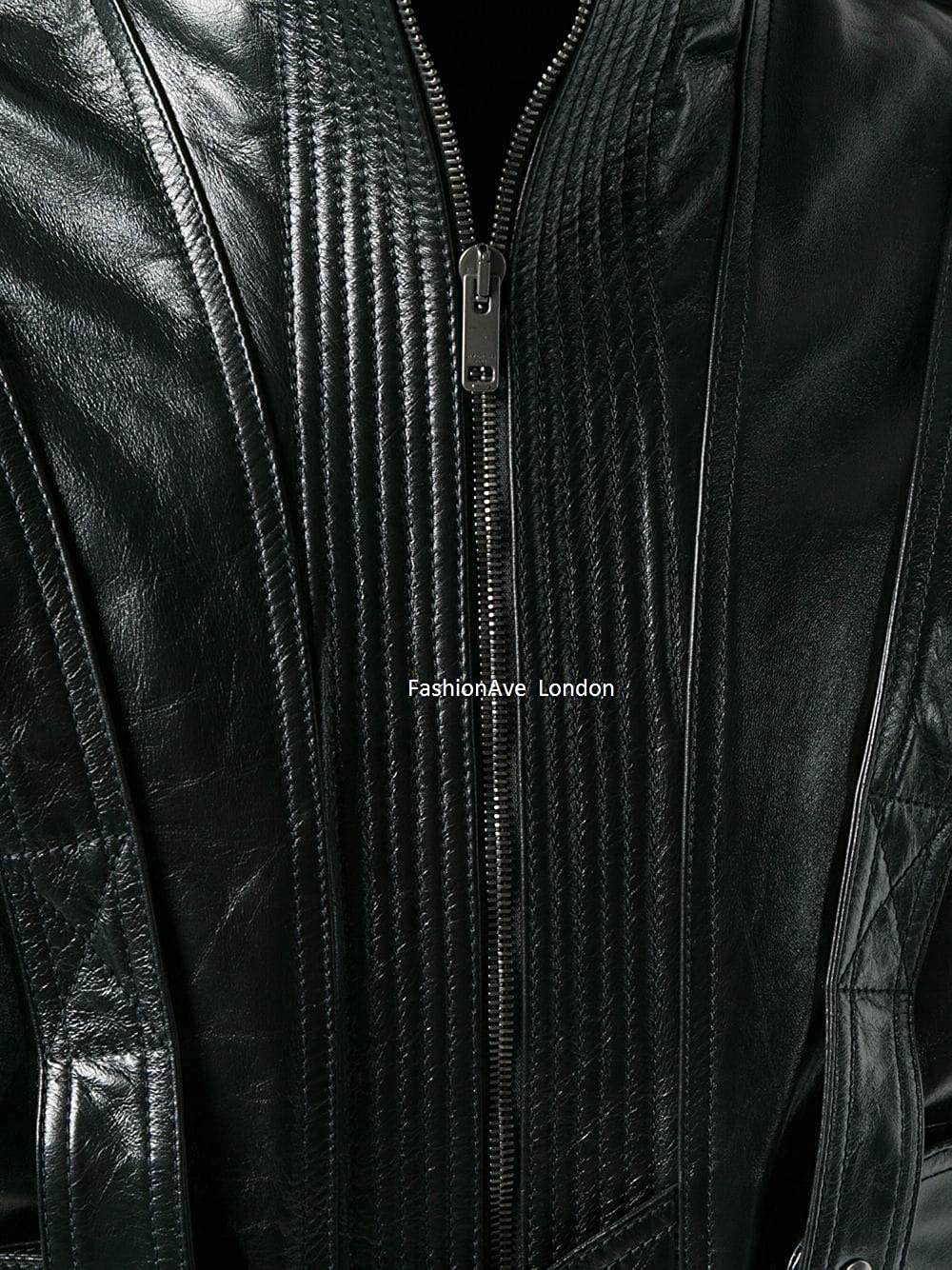 FashionAve London Mens Black 100/% Real Leather Denim Motorcycle//Rider Jacket