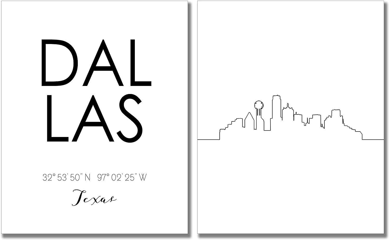 Dallas City Skyline Wall Décor Prints - Set of 2 (8x10) Art Photos - Typography Minimalist Poster