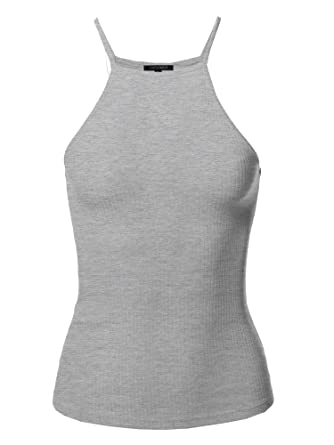 7c0ec7163c Awesome21 Women's Solid High Neck Racer-Back Ribbed Spaghetti Strap ...