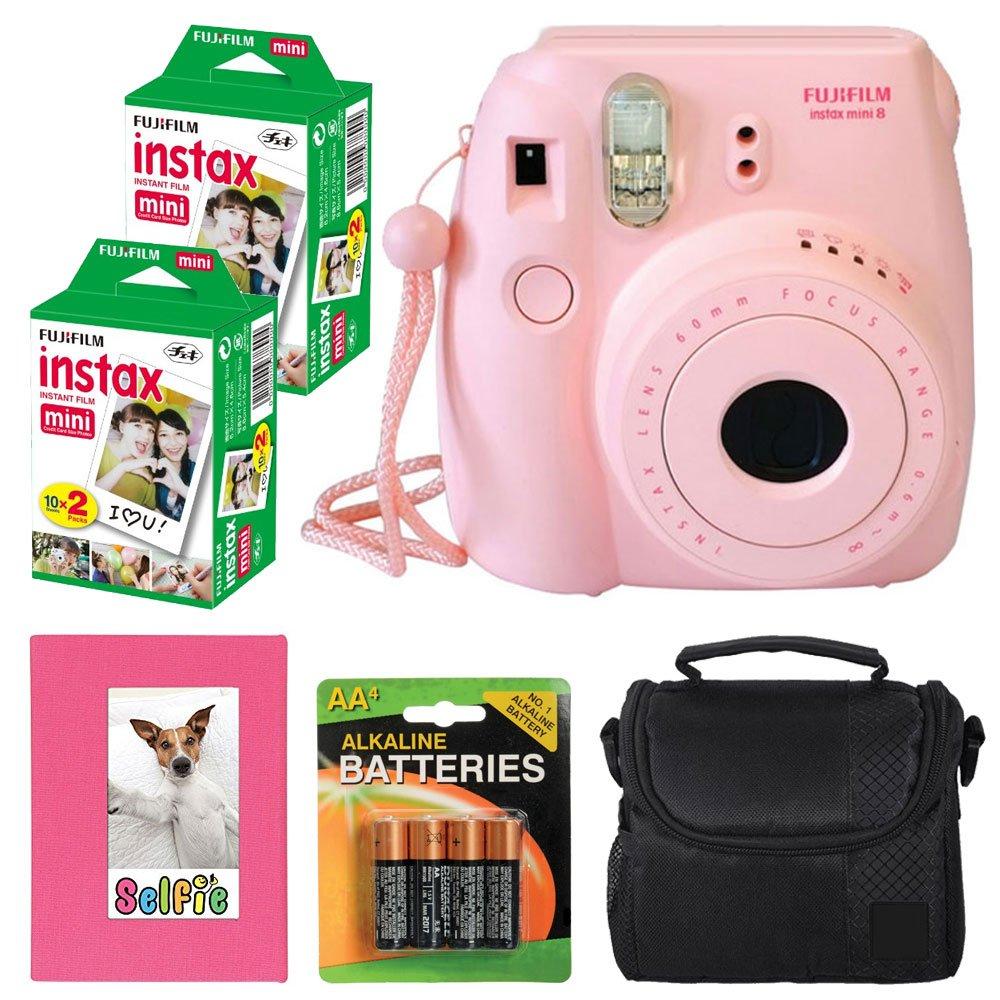 Fujifilm Instax mini 8 Instant Film Camera (Pink) + Selfie Photo Album + Instax Mini Twin Pack (40 shots) + Digital Camera Case + AA 4 Batteries + Accessory Kit - International Version (No Warranty)