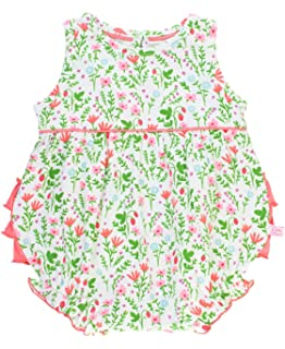 e4b32d518957 RuffleButts Baby Toddler Girls Strawberry Fields Floral Knit Bubble Romper  with Coral Ruffles