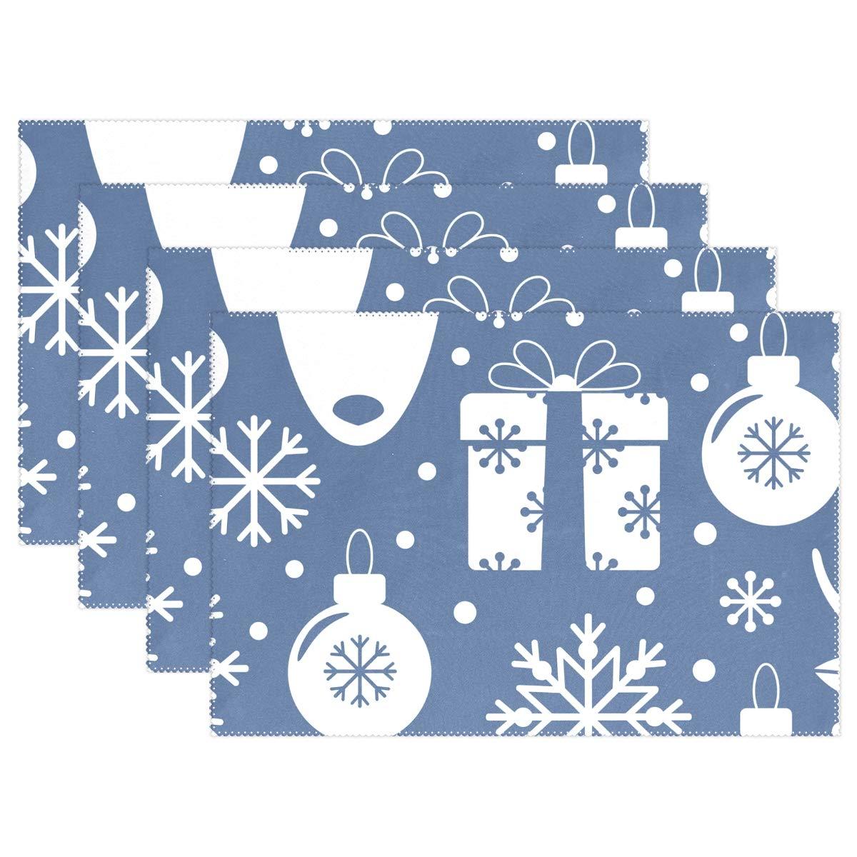スーパー3Dプリント ハッピークリスマス プレースマット テーブルマット 12インチ x 18インチ ポリエステル キッチンダイニングルーム用プレースマット 1枚 12x18x1 in ホワイト g11992253p145c160s236 12x18x1 in  B07KF7FSS3
