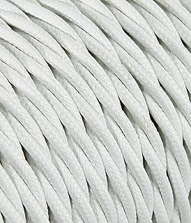 Secci/ón 3/X 2,50 Cable el/éctrico trenzado//Hilo trenzado revestido de tela Color Blanco