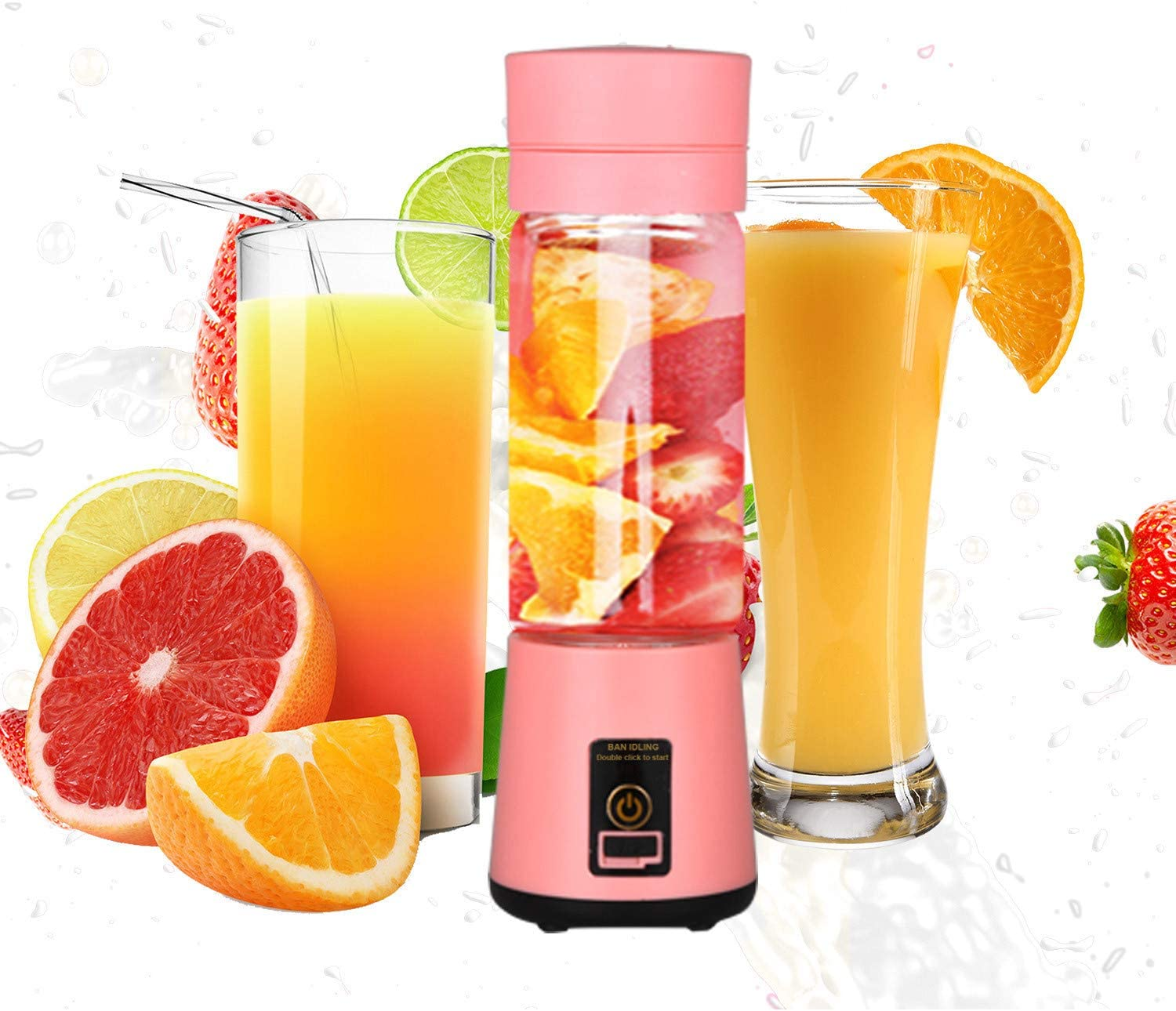 Portable Electric Juicer Cup, USB Rechargeable Personal-size Blender Used at Home And Outdoor, With 400ml High Borosilicate Glass Cup, Pink