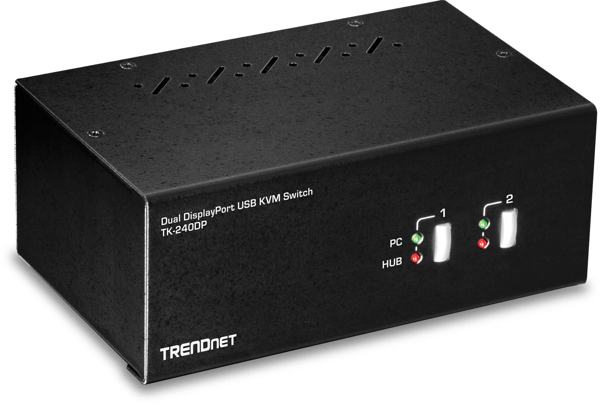 TRENDnet 2-Port Dual Monitor DisplayPort KVM Switch with Audio, 2-Port USB 2.0 Hub, 4K UHD Resolutions Up to 3840 X 2160, TK-240DP