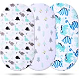 Momcozy Universal Bassinet Sheets 3 Pack, 100% Breathable Cotton Sheet Set for Baby Boy, Fit for Most Bassinet Pad/Mattress Like Halo, MiClassic, Chicco Lullago and More(Dinosaur+ Tree)