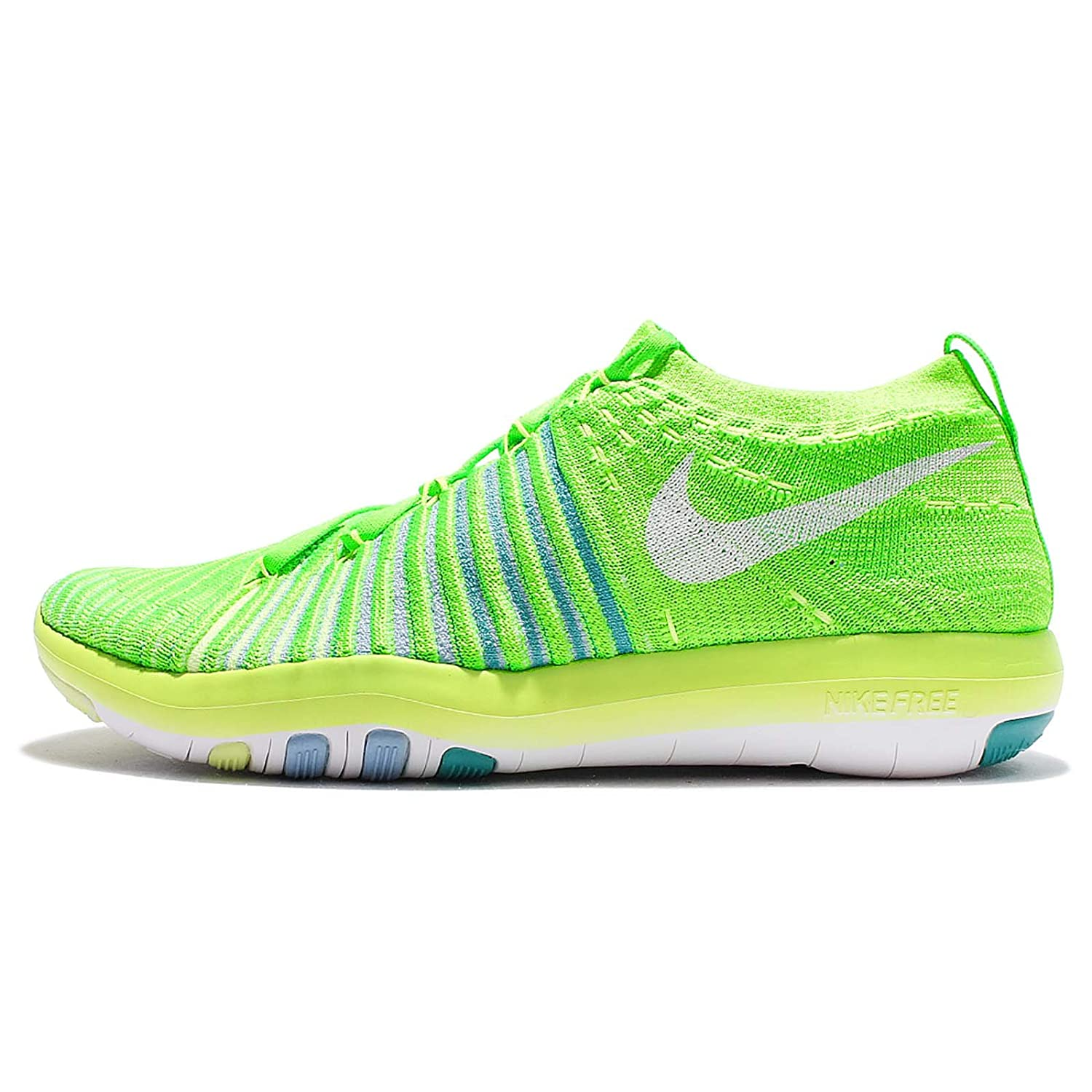 NIKE Womens Free Focus Flyknit Mesh Breathable Trainers B01HBY9IBY 8 B(M) US|Electric Green