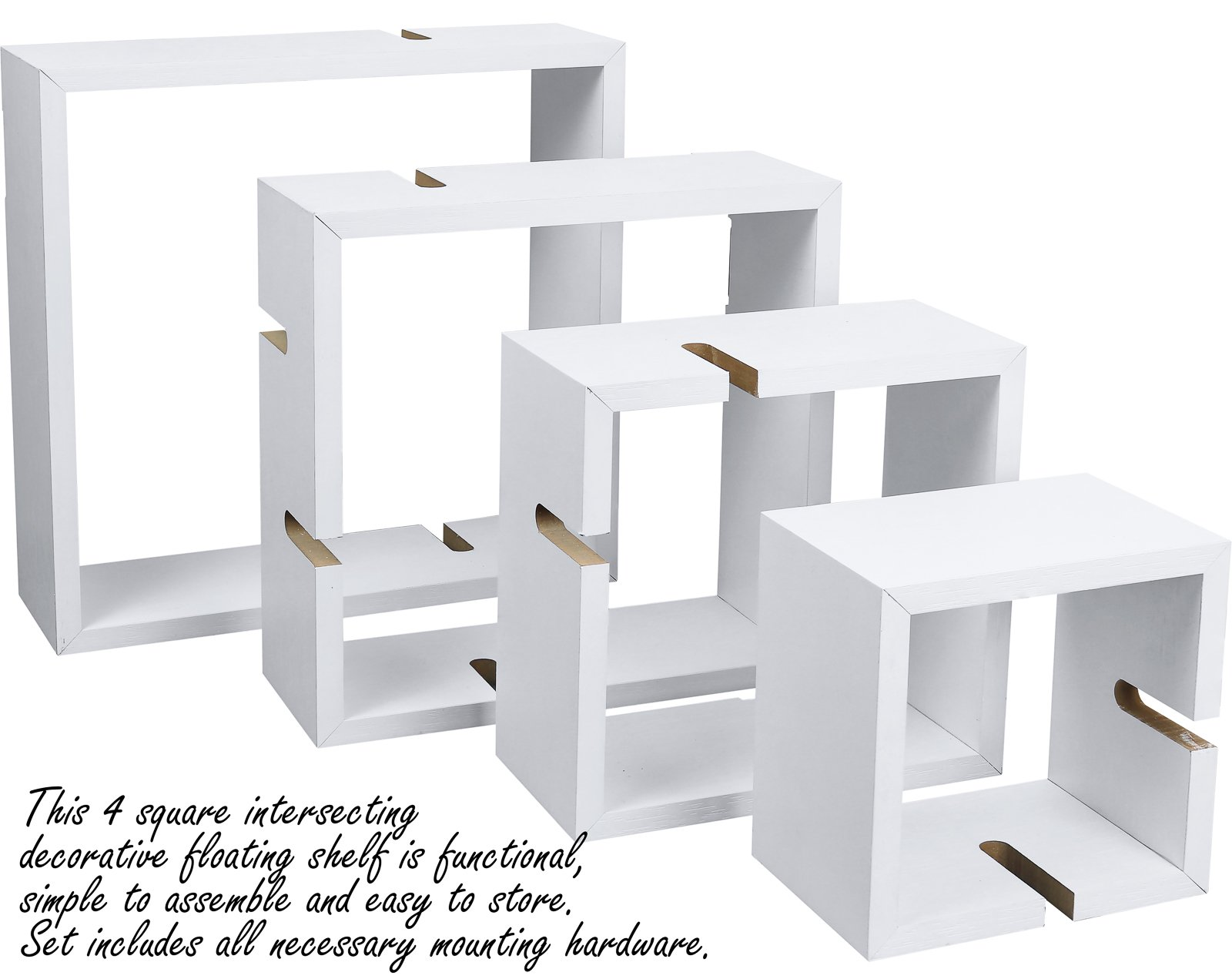 Greenco Decorative 4 Cube Intersecting Wall Mounted Floating Shelves- White Finish - Decorative intersecting floating shelves Made of durable MDF laminate. Beautiful White finish that suits almost any decor. Easy to mount with all necessary hardware Included. Hardware is not visable when mounted - wall-shelves, living-room-furniture, living-room - 71rqpQZVhzL -