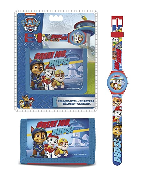 PAW PATROL Original, Chase, Marshall Rubble Reloj Digital + Billetera, con Licencia Oficial