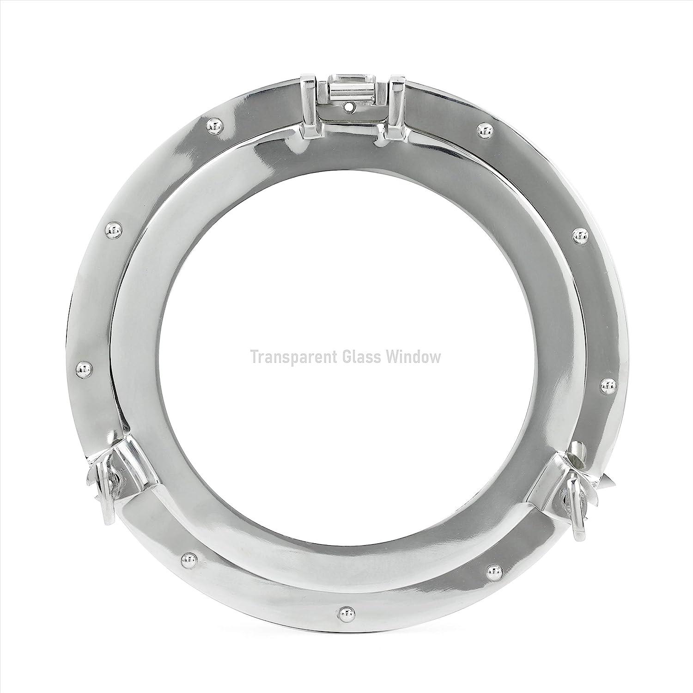 """Nagina International Nautical Store 11"""" Nickel Plated Aluminum Porthole-Window Ship Round Glass Wall Decor Porthole"""