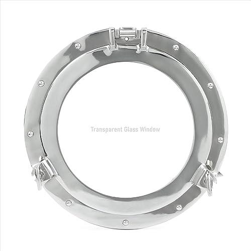 Nagina International Nautical Store 11 Nickel Plated Aluminum Porthole-Window Ship Round Glass Wall Decor Porthole