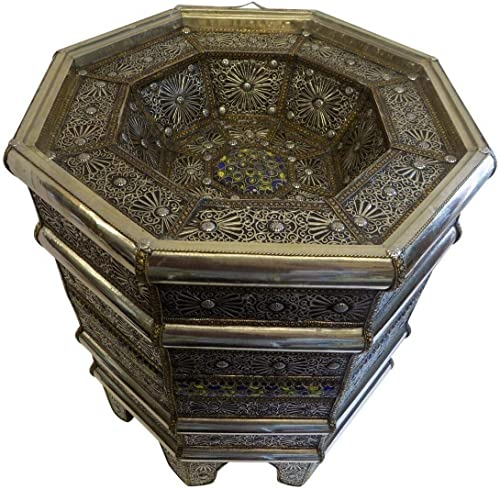 Moroccan End Table Silver Filigree and Hand Painted