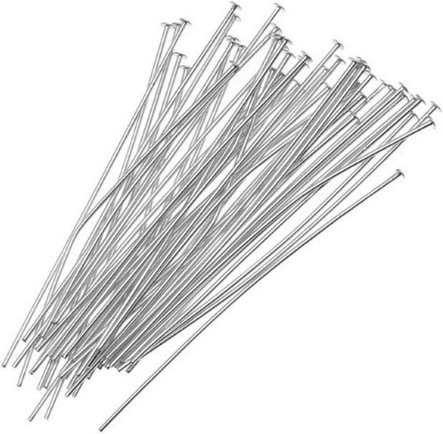 100 Silver Plated Brass 1 Inch Long 24 Gauge Headpins