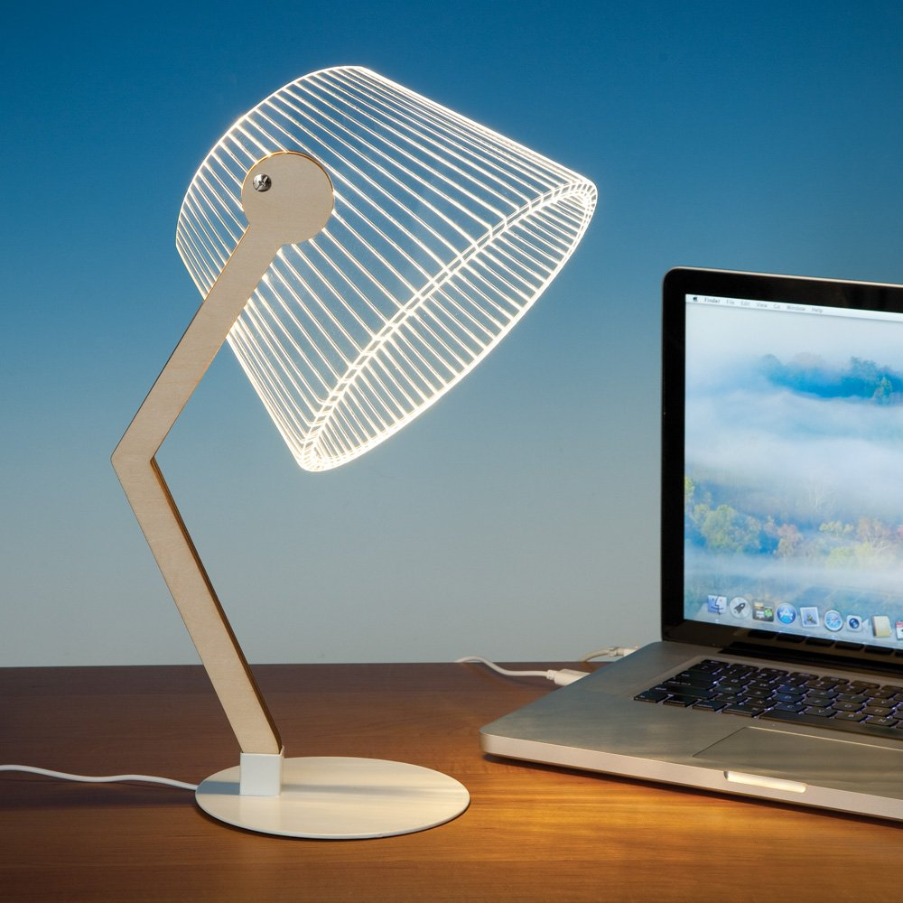 Bits and Pieces - LED 3D Optical Illusion Desk Lamp - USB Lamp for Your Desk or Office