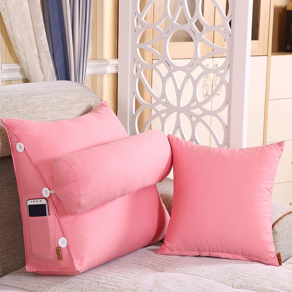 LQQGXL,Cushion, Cotton canvas Triangular pillows Bedside washable windows Neck adjustable waist pad ( Color : Light pink , Size : 6050cm(23.6219.68in) ) by LQQGXL