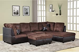 AYCP FURNITURE Right Facing Chaise Modern Living Room L Shaped Sectional Sofa Set, Brown