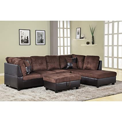 Amazon.com: AYCP FURNITURE Modern Sectional Sofa, Brown ...