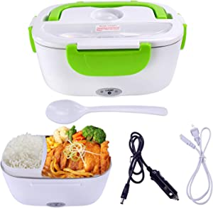 Mozing Electric Lunch Box Protable Food Warmer Heated Lunch Box For Car Truck Home Work Dual Use Removable Stainless Steel Container Multifunction Food Heater Portable Microwave 110V & 12V 40W,Green